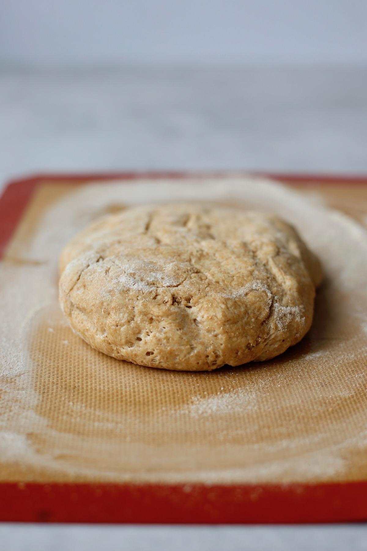 prep bread dough on a mat