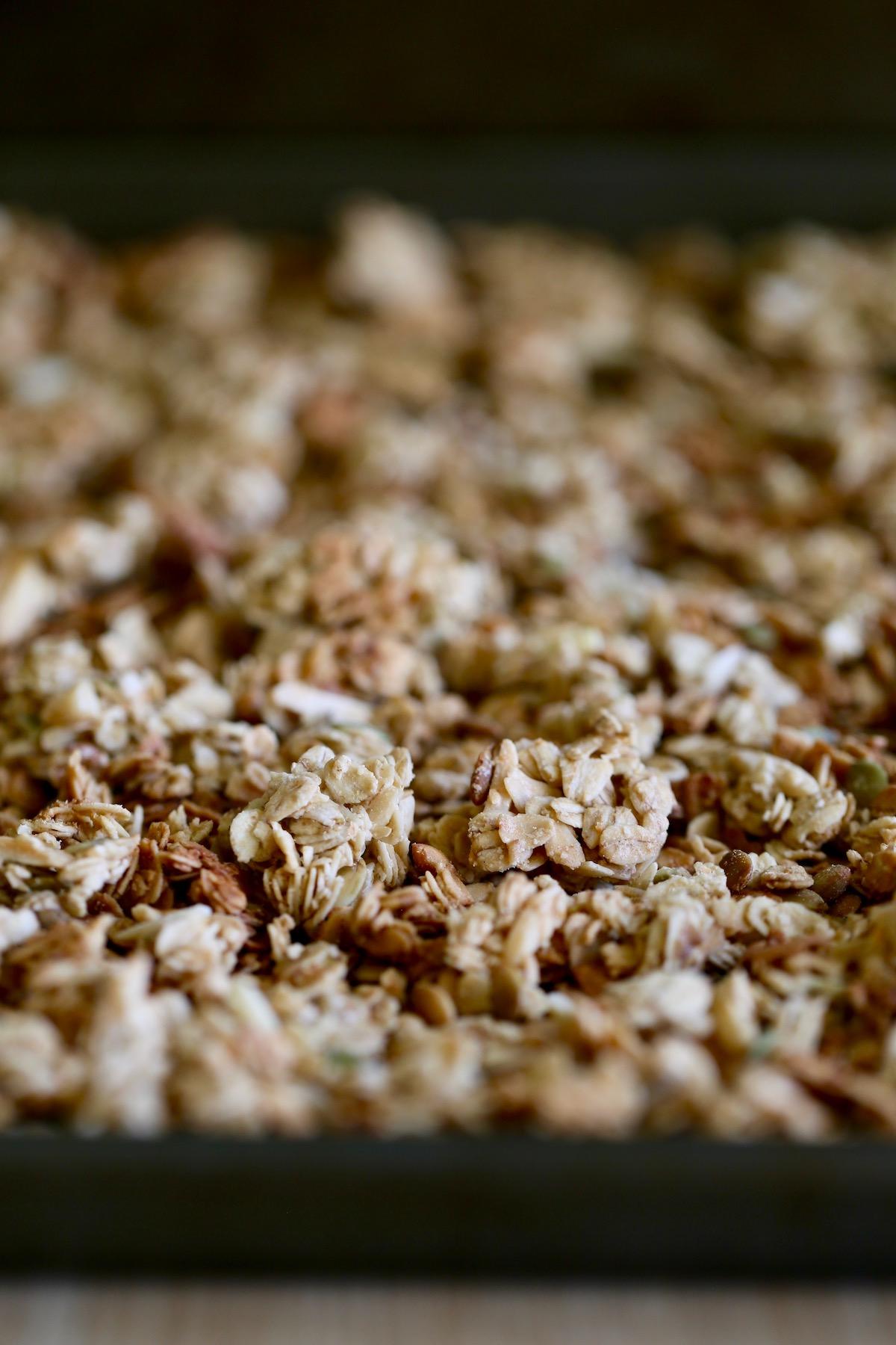 Easy Tahini Granola on a baking sheet