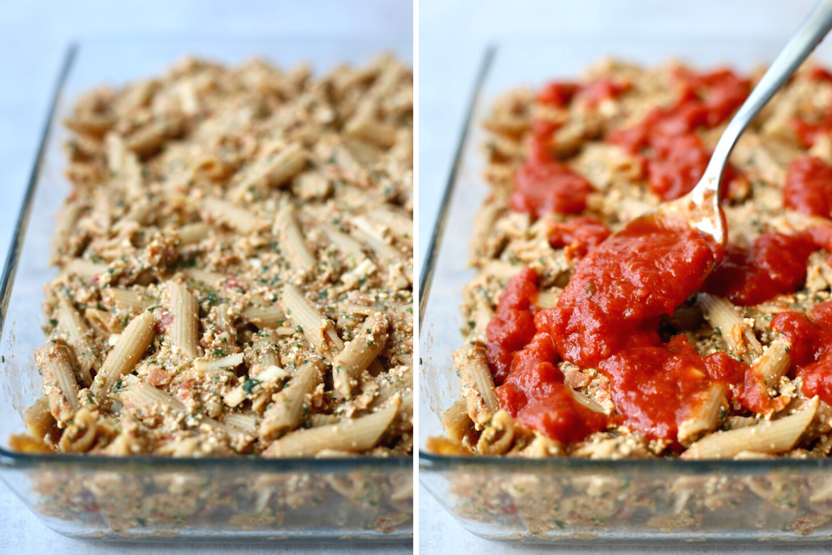 baked ziti being topped with more marinara sauce