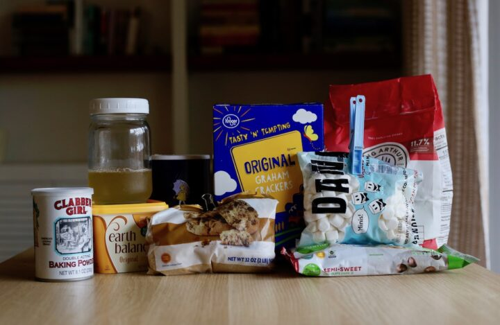 ingredients you need for easy vegan s'mores bars on a table