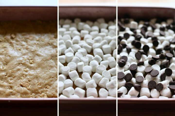 creating layers for vegan s'mores bars