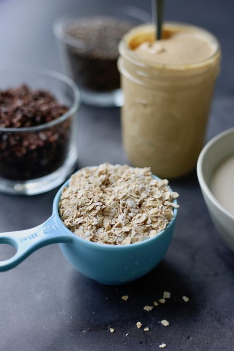 ingredients you'll need to make healthy cookie dough overnight oats