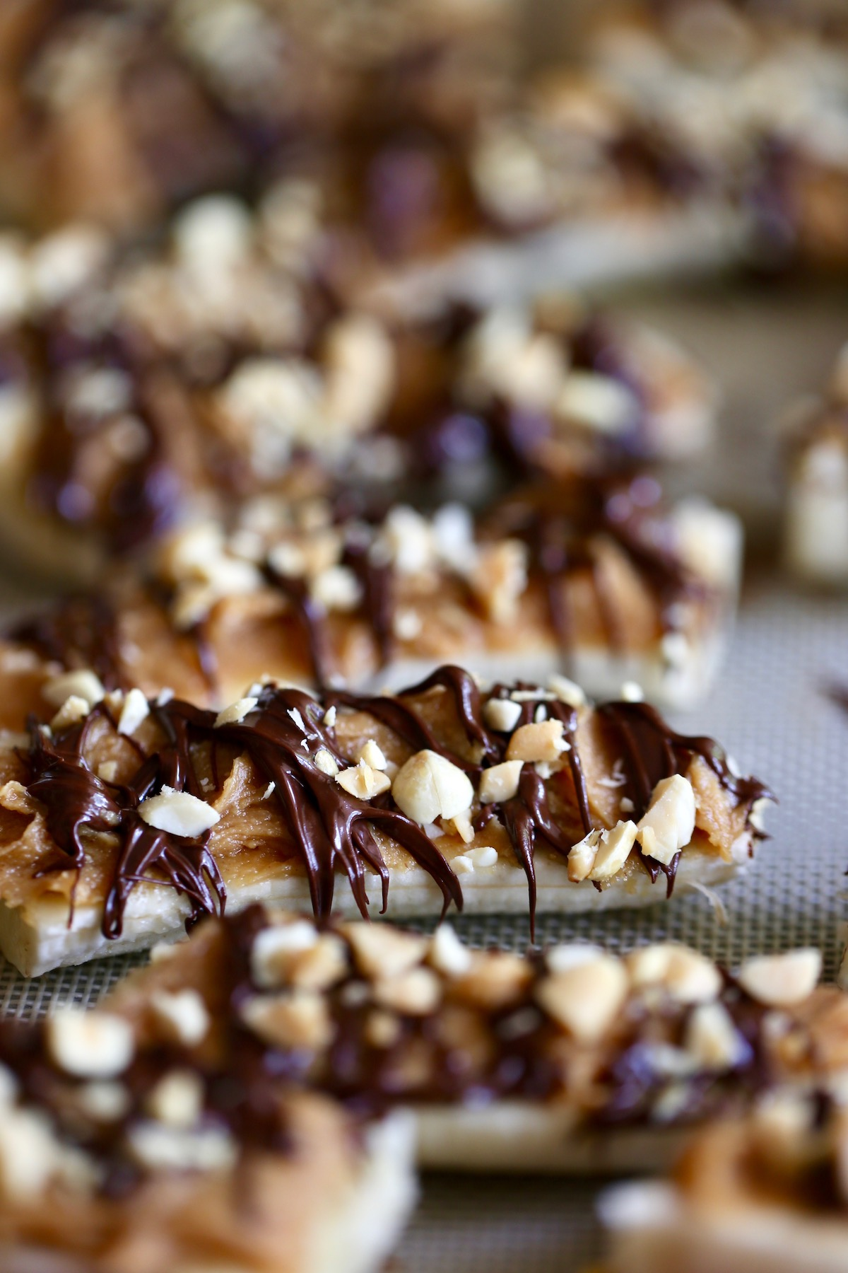 banana slices topped with peanut butter, melted chocolate and salted roasted peanuts