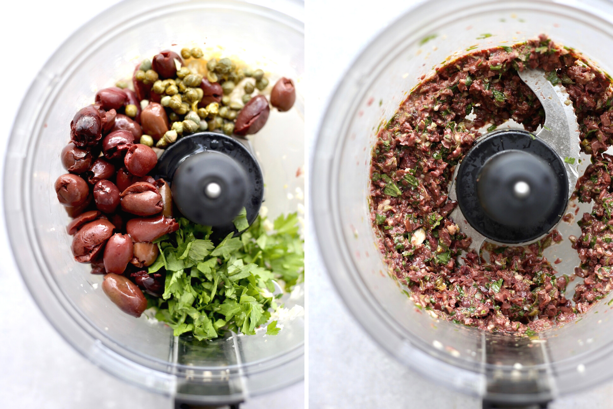 The ingredients for kalamata tapenade before and after processing