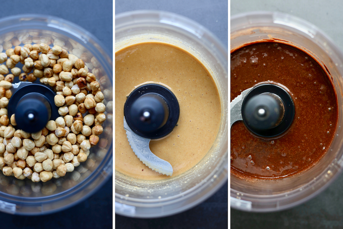 showing how hazelnuts turn into homemade vegan Nutella using a food processor