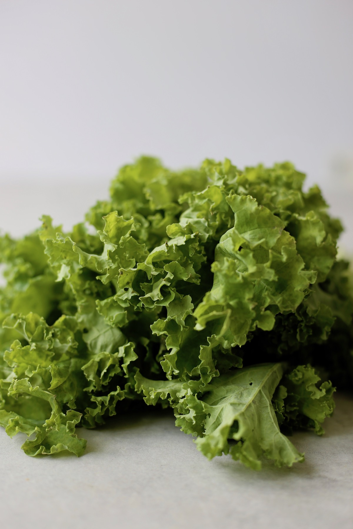 fluffy raw kale leaves