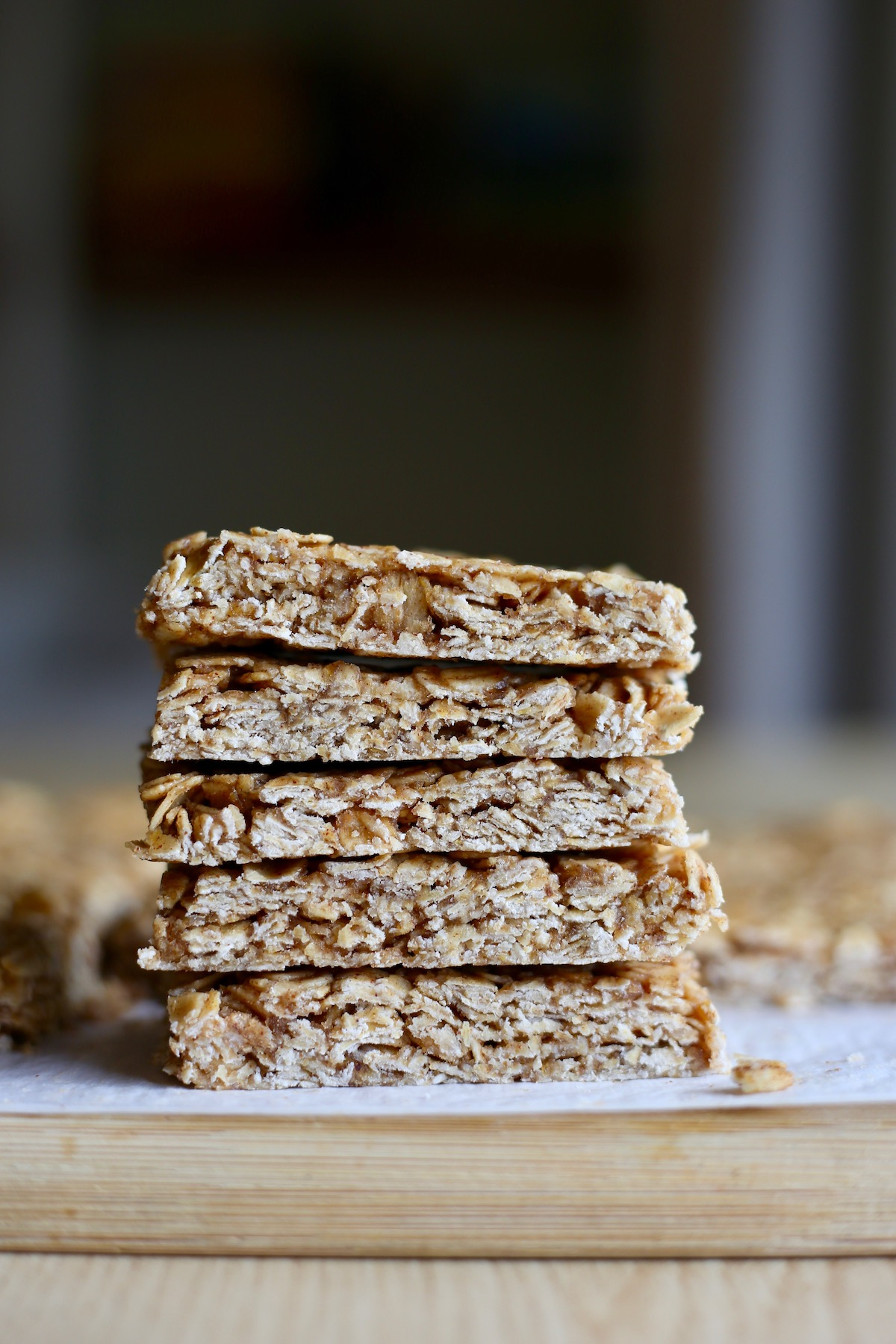 5 ingredient granola bars stacked on a cutting board