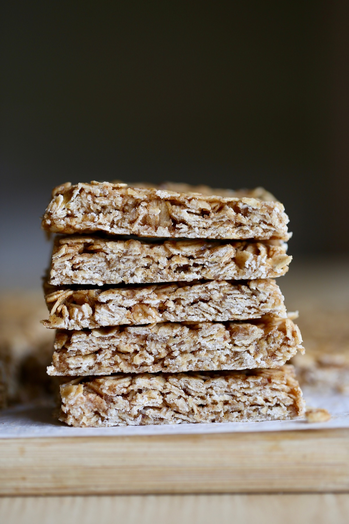 5 no-bake granola bars stacked on each other