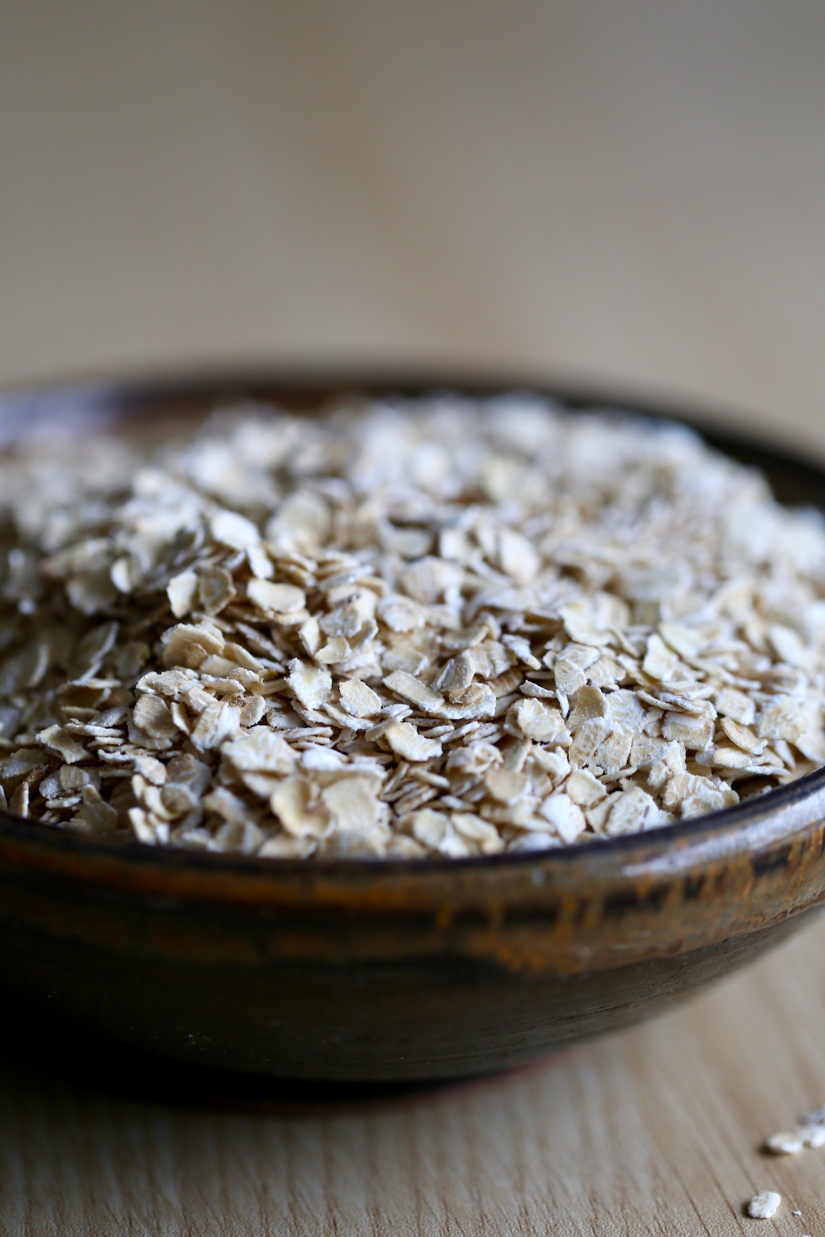 Quick cooking oats in a bowl