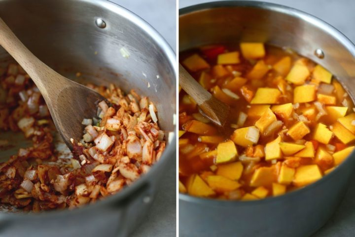 Collage of onions, spices and pumpkin being sautéed in a pan