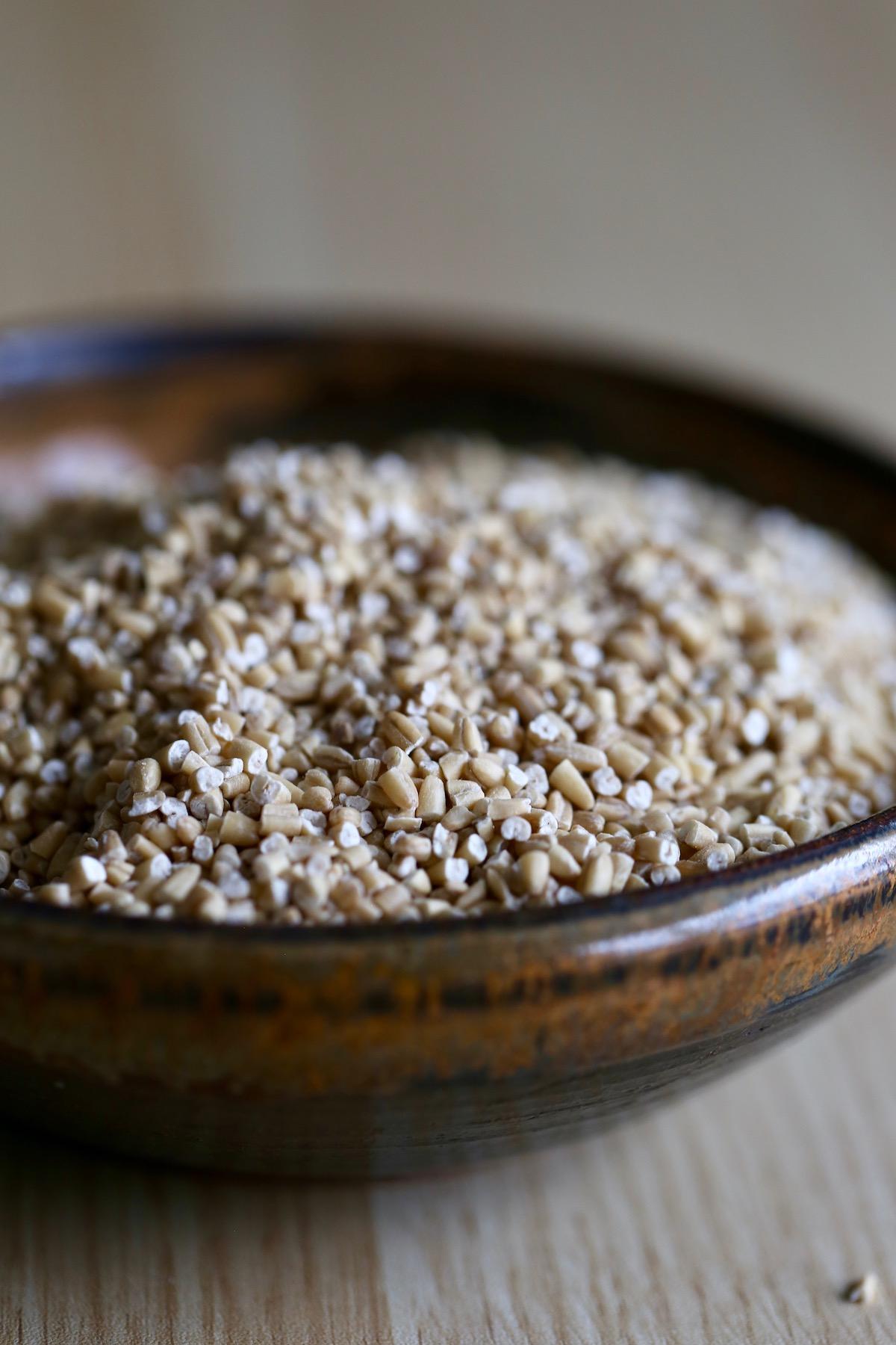raw steel cut oats in a bowl