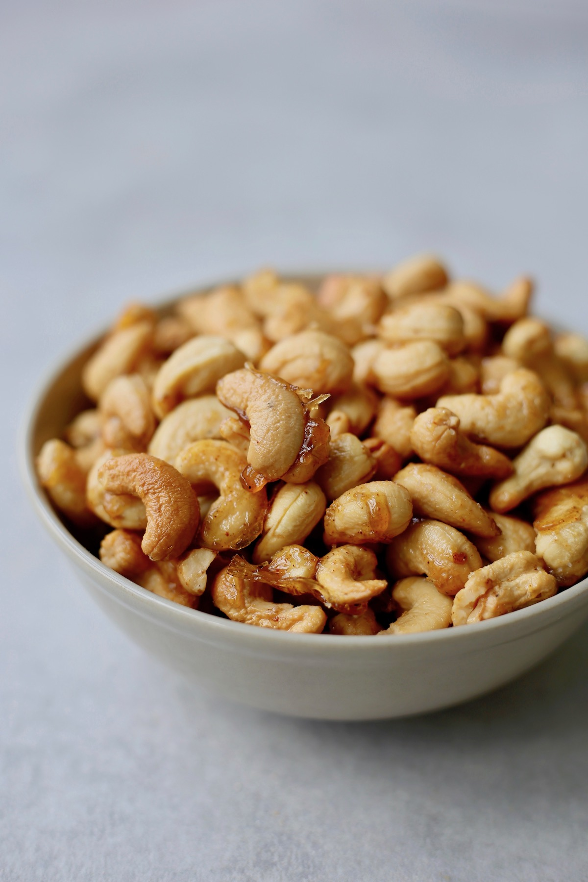 sweet and spicy candied cashews in a bowl