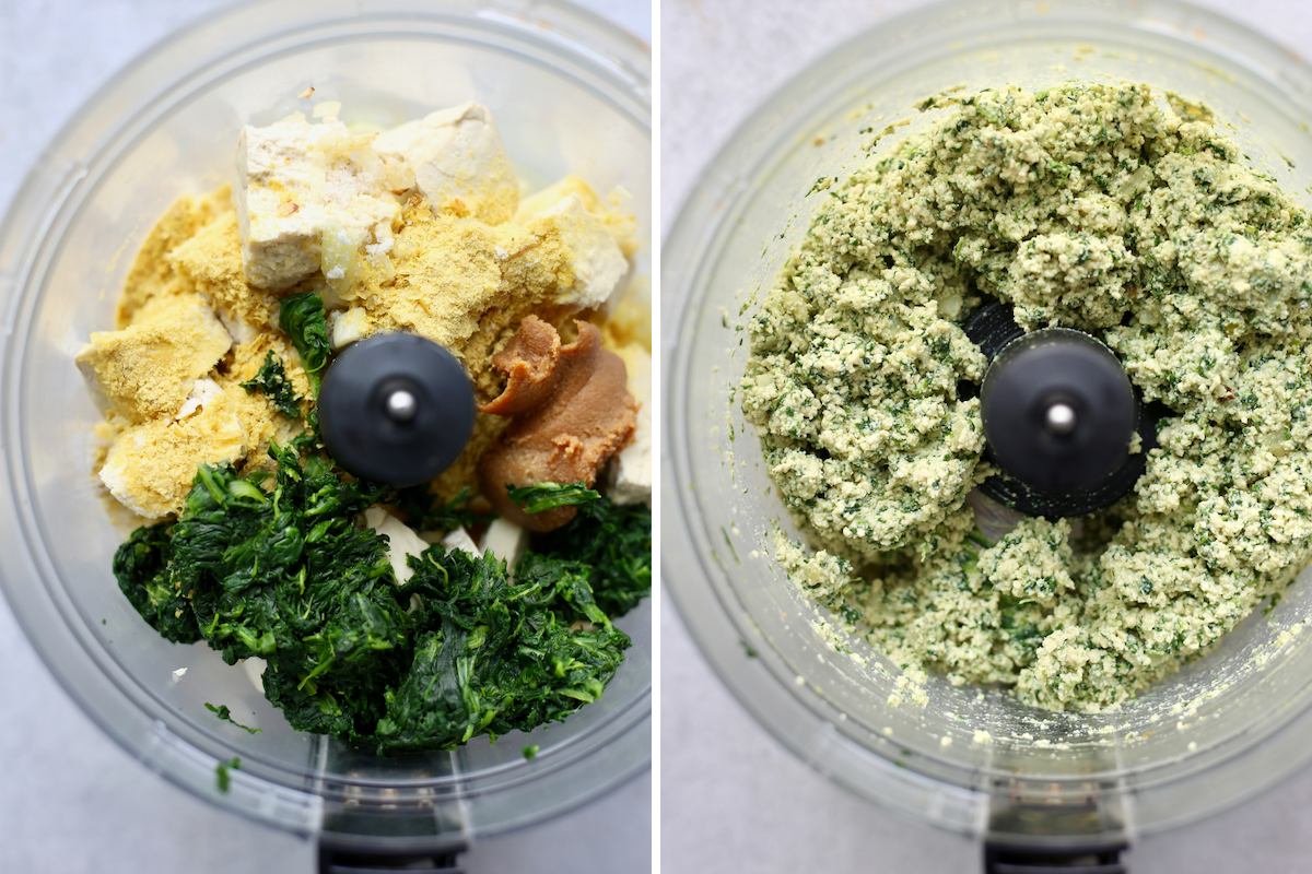 the ingredients for vegan tofu ricotta in a food processor