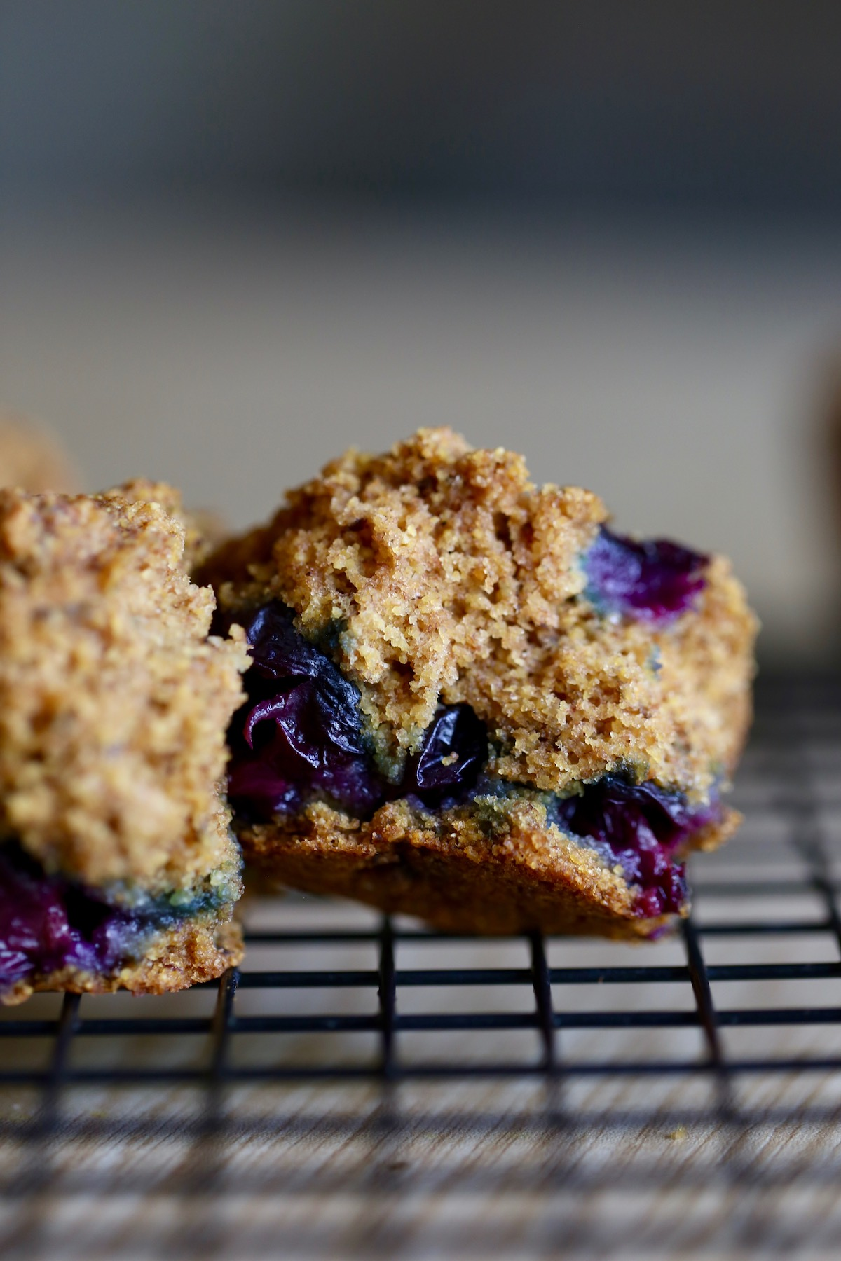 the inside of a vegan blueberry cornmeal muffin