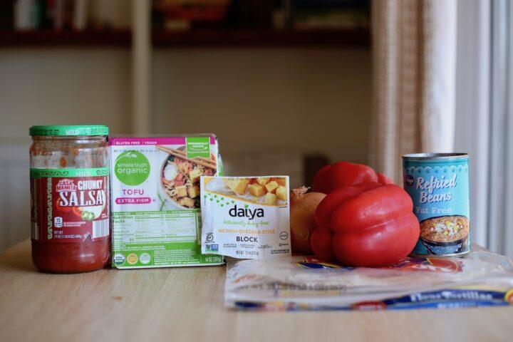 Ingredients you'll need for vegan breakfast burritos