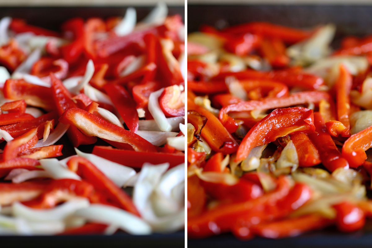 bell peppers and onions before and after roasting in the oven