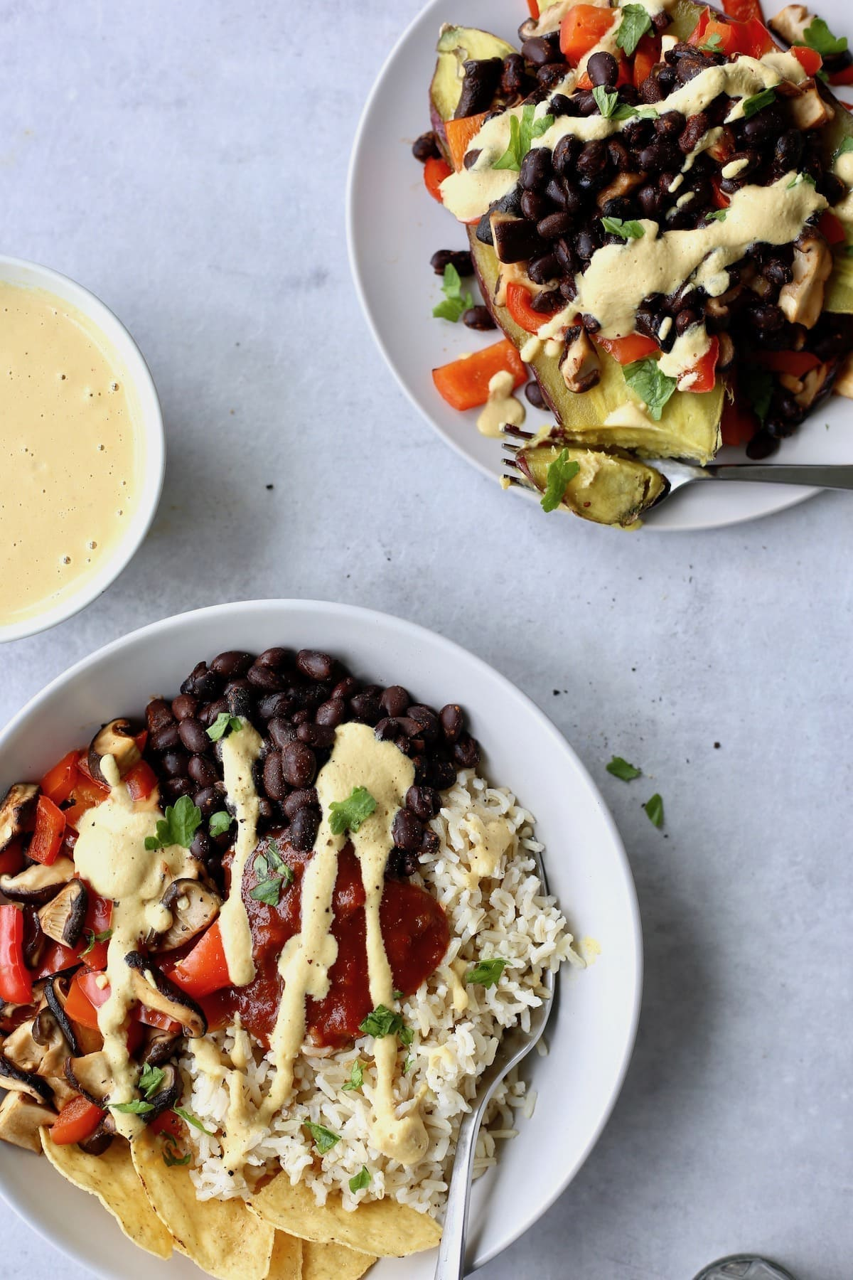 different variations of vegan burrito bowls and mexican stuffed potato