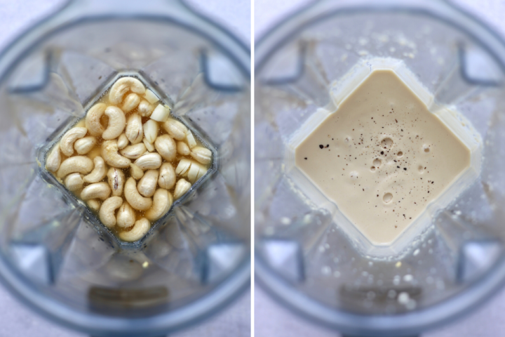 a collage showing vegan caesar dressing before and after blending