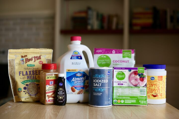 Ingredients you need for the eggless custard for vegan french toast casserole