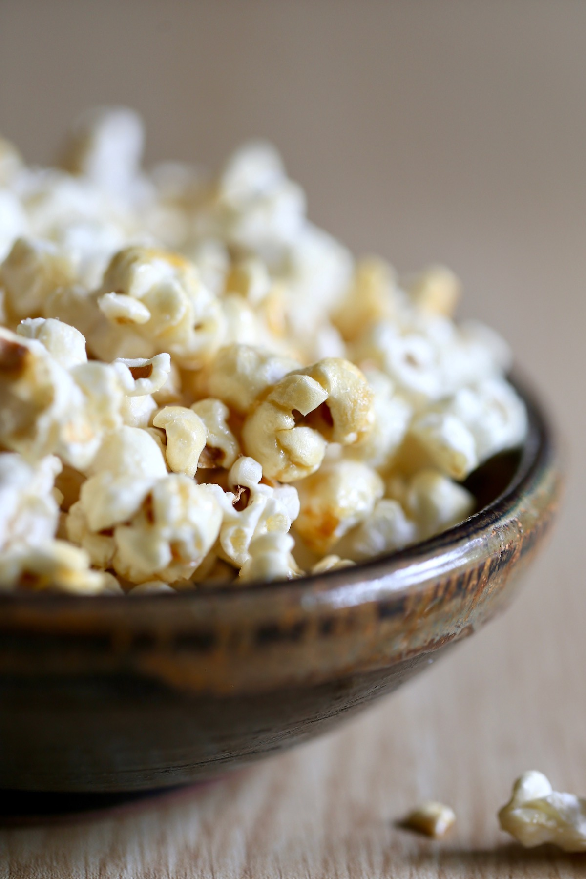 vegan kettle corn spilling out of a bowl