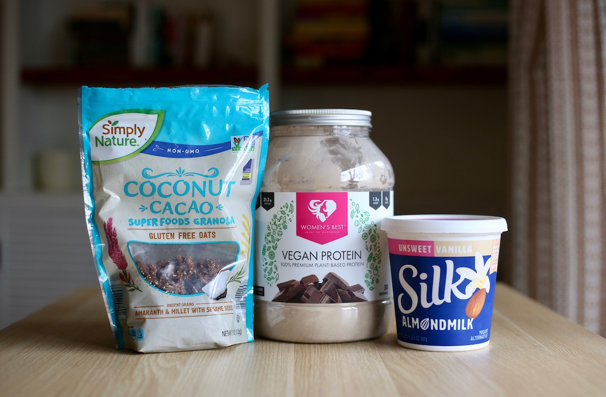 the ingredients you'll need for vegan protein yogurt cups
