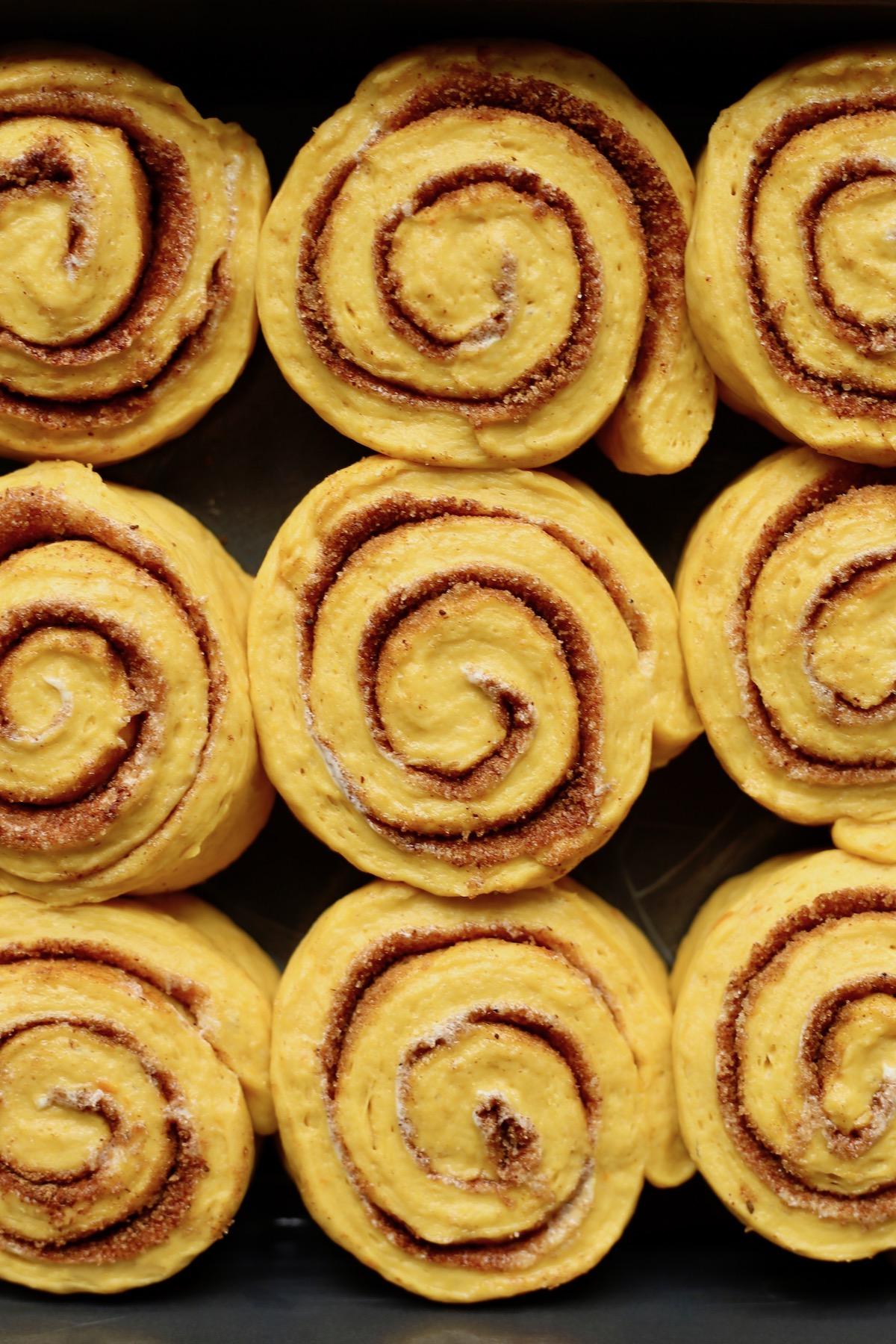 the pre-baked pumpkin cinnamon rolls arranged in a baking pan