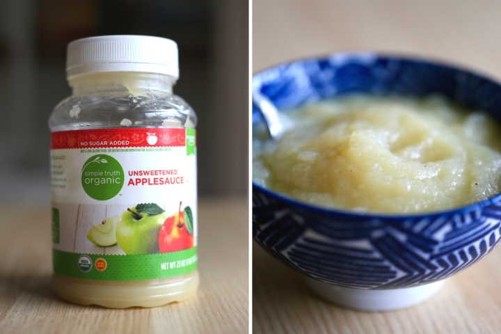 apple sauce in the jar and scooped into a bowl