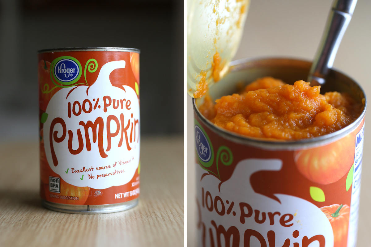 a can of pumpkin puree before and after opening