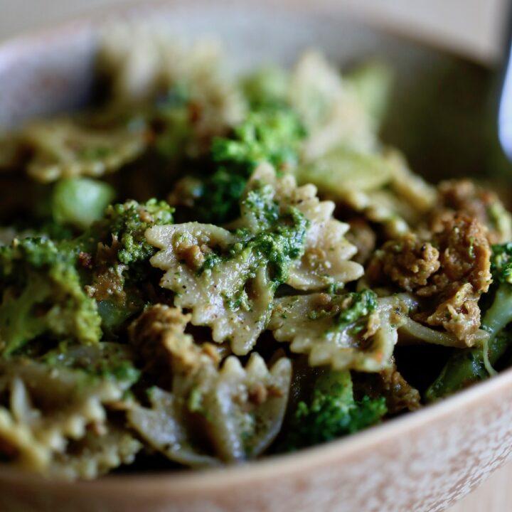 Vegan Sausage Pesto Pasta with Broccoli