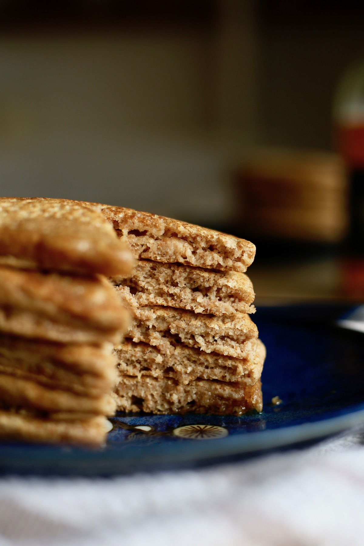 the inside of a stack of vegan buttermilk pancakes