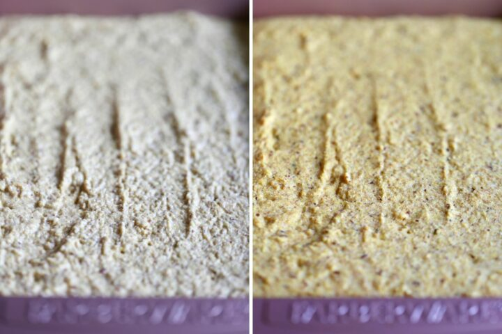 whole wheat vegan cornbread before and after baking