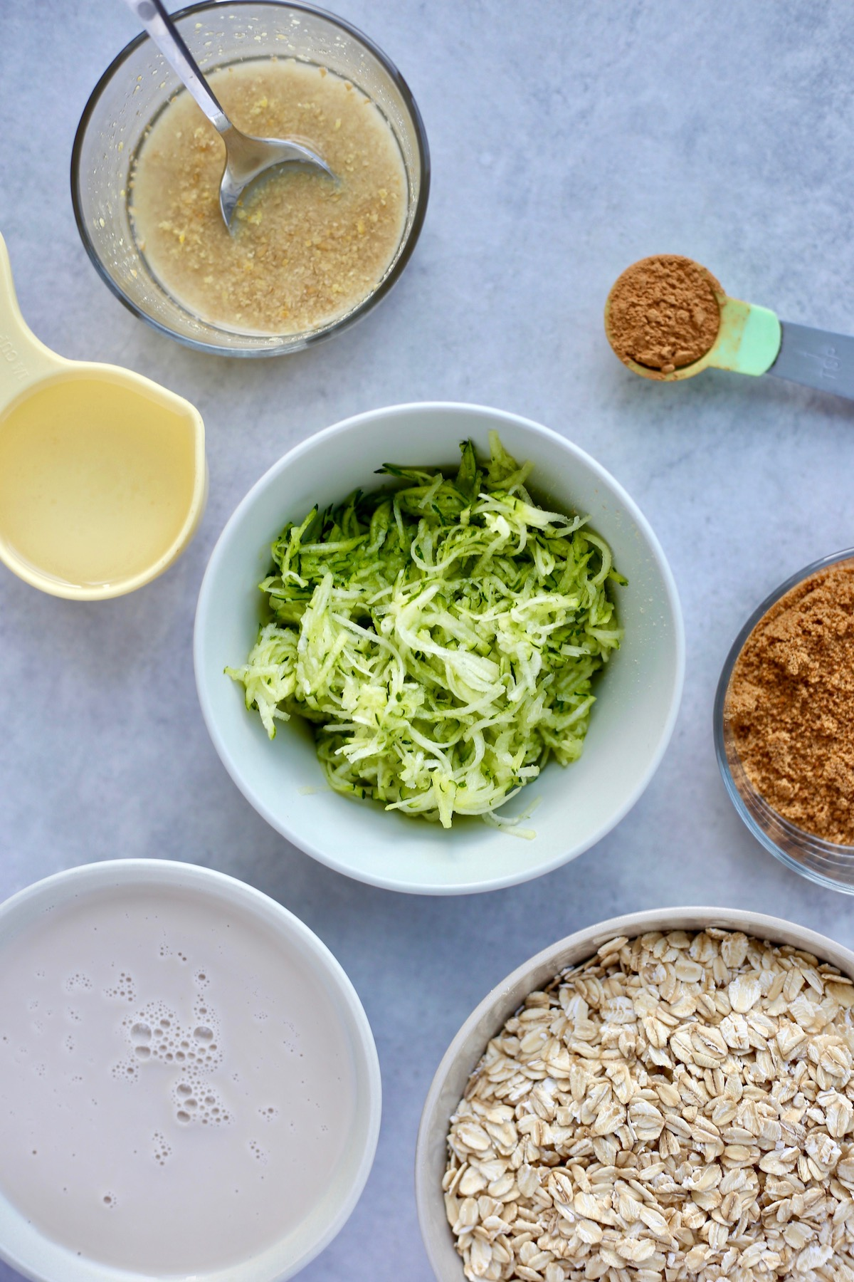 all the ingredients for zucchini bread baked oatmeal