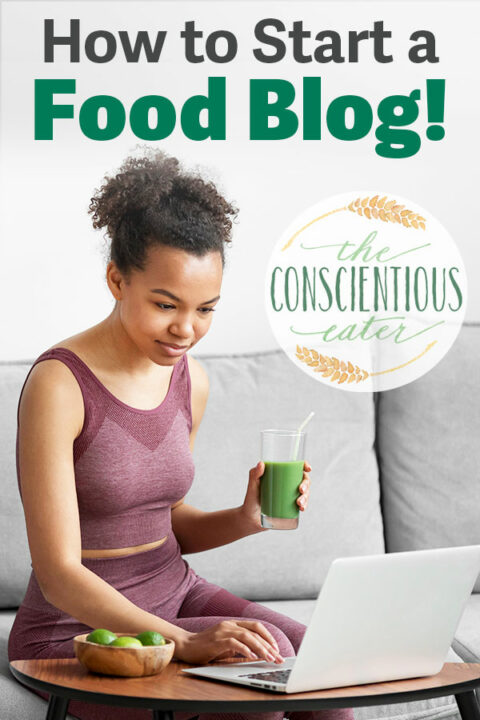 an image of a girl working on starting a food blog