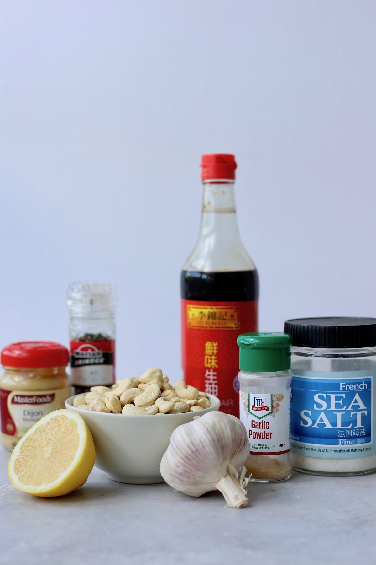 the ingredients you'll need to make homemade vegan Caesar dressing